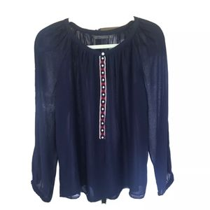 Zara Trafaluc Peasant Popover Shirt Crochet Mediu…